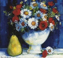 Still life with poppies and daisies