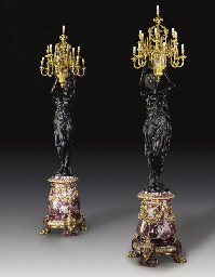 A PAIR OF MONUMENTAL ORMOLU, P