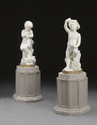 A PAIR OF ITALIAN MARBLE FIGUR
