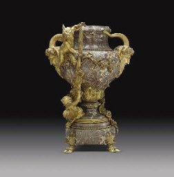 A FRENCH ORMOLU AND MARBLE JAR