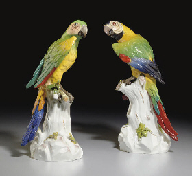A PAIR OF MEISSEN MODELS OF MA