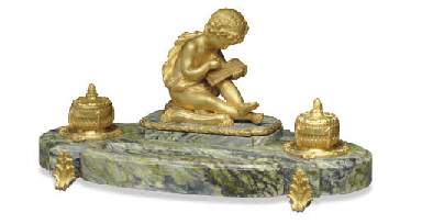 A FRENCH ORMOLU AND MARBLE ENC