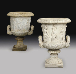 A pair of Italian marble copie