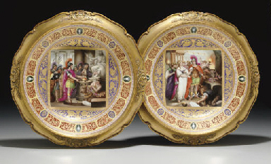 A PAIR OF VIENNA STYLE PURPLE