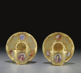 A PAIR OF COALPORT 'JEWELED' Y