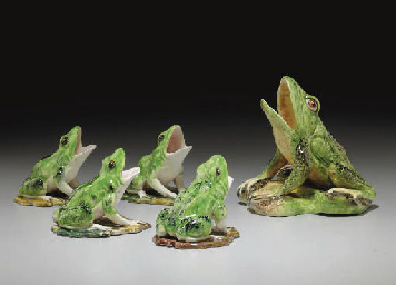 FIVE FRENCH MAJOLICA MODELS OF