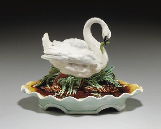 A FRENCH MAJOLICA INKSTAND AND