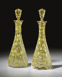 A PAIR OF MOSER DECANTERS AND