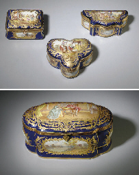 FOUR SEVRES STYLE GILT-METAL M