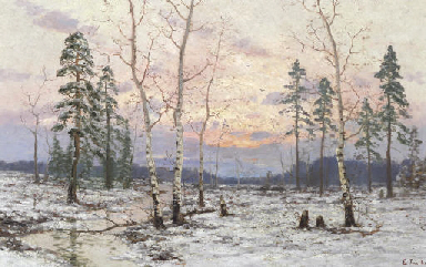 Birches in a Snowy Landscape
