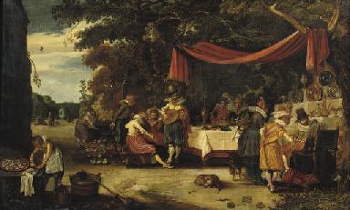 An elegant company in a garden