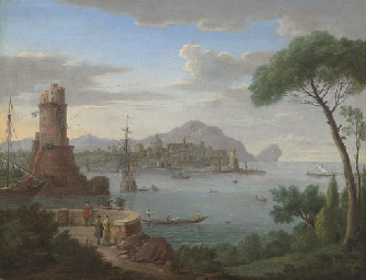 A capriccio of a coastal town