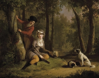 An elegant couple out hunting