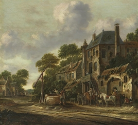 Travelers in a village landsca