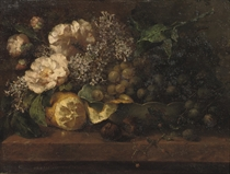 Pink roses, lilacs and grapes on a ledge