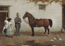 Jhr Jacob Carel Martens (1817-1872) with his daughters: preparing for a ride