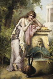 A young beauty by a fountain