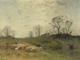 Leading the sheep across a flo