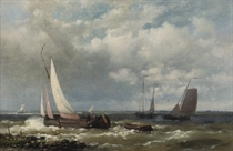 Sailing-vessels on a river estuary: and A calm harbour in late afternoon