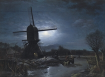 Activities near a windmill at night