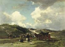 Mending fishing-nets in the dunes of Scheveningen