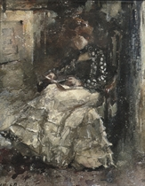 Mientje reading in the atelier