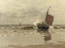 Bomschuit in the surf, Katwijk