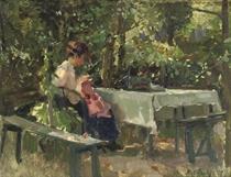 In den tuin: in a shady corner of the garden