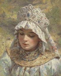 Russian beauty wearing a kokos