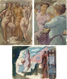 Three standing female nudes; T