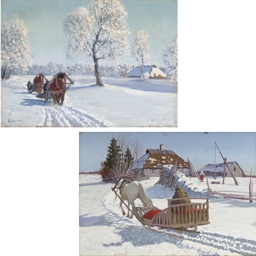 A sleigh returning to a farmst