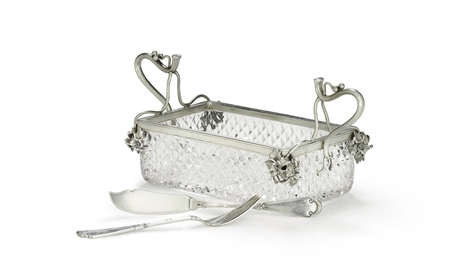 A Silver-Mounted Cut Glass Cav
