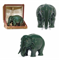An Unusually Large Jeweled Carved Nephrite Model of an Elephant