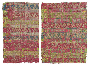 TWO OTTOMAN COMPOUND SILK PANE