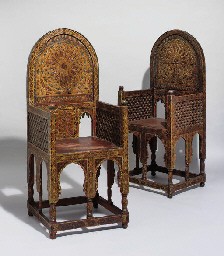 A PAIR OF MOROCCAN PAINTED WOO