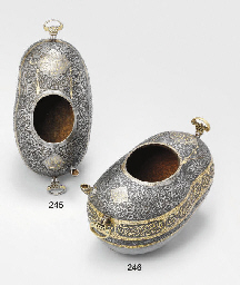 A QAJAR GOLD DAMASCENED AND IN