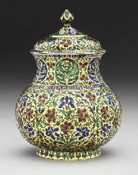A SILVER GILT ENAMELLED JAR AN
