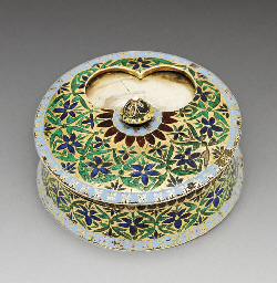 A SILVER GILT AND ENAMEL SNUFF