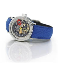 ALAIN SILBERSTEIN. A LIMITED EDITION STAINLESS STEEL AUTOMATIC SKELETONIZED JUMP HOUR WRISTWATCH