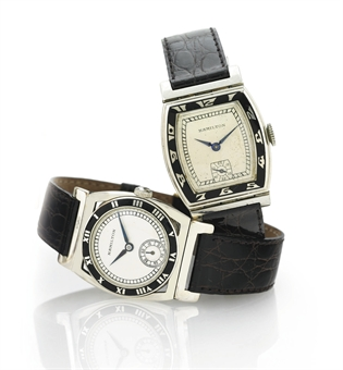 HAMILTON.  A GROUP OF TWO RARE 14K WHITE GOLD AND ENAMEL WRISTWATCHES