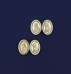 A pair of enamel cufflinks by