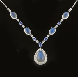 A MOONSTONE, DIAMOND AND TANZA