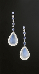 A PAIR OF MOONSTONE, DIAMOND A