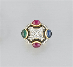 A DIAMOND, GEM AND ENAMEL RING