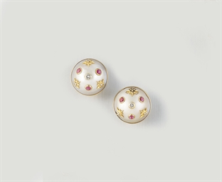 A PAIR OF MABÉ CULTURED PEARL,