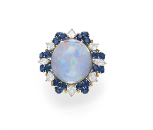 AN OPAL AND SAPPHIRE RING, BY