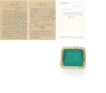 AN EMERALD AND DIAMOND RING, BY FLATO