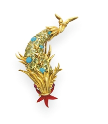A MULTI-GEM, GOLD AND ENAMEL
