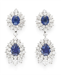 A PAIR OF SIMULATED SAPPHIRE A