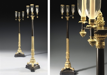 A PAIR OF REGENCY BRONZE AND O